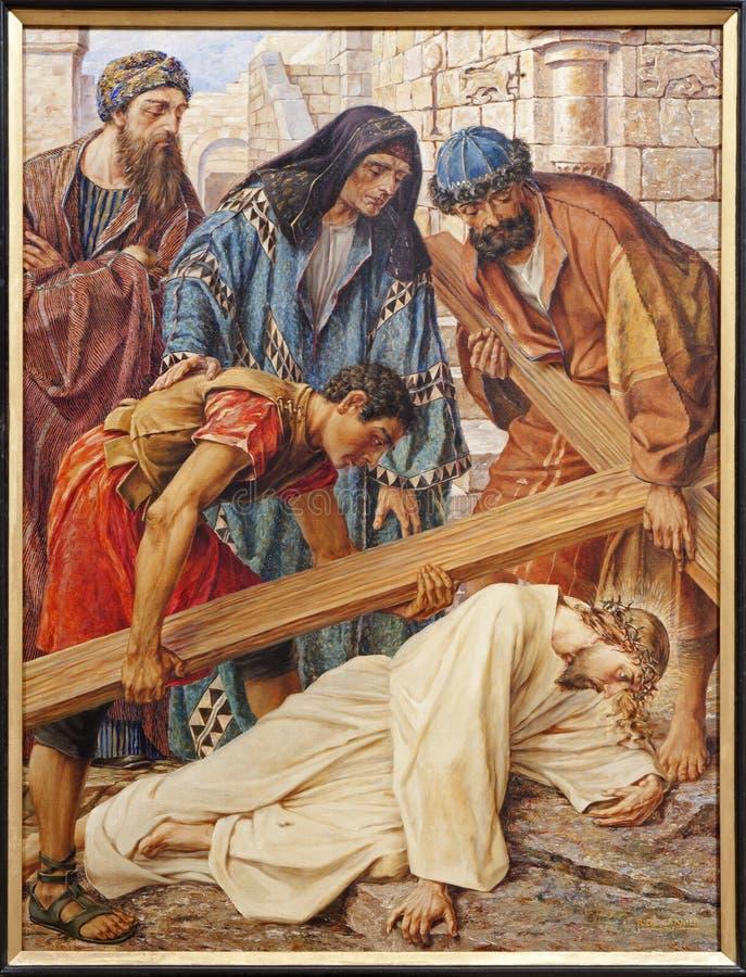 Señor - caída de Jesús bajo cruz fotos de archivo