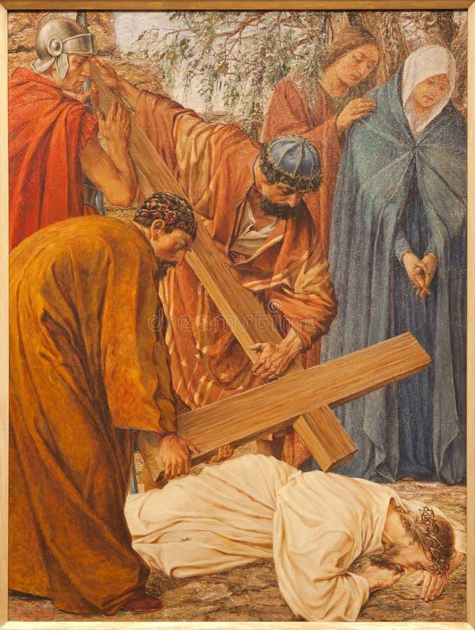 Señor - caída de Jesús bajo cruz en la iglesia de San Pedro s fotografía de archivo libre de regalías