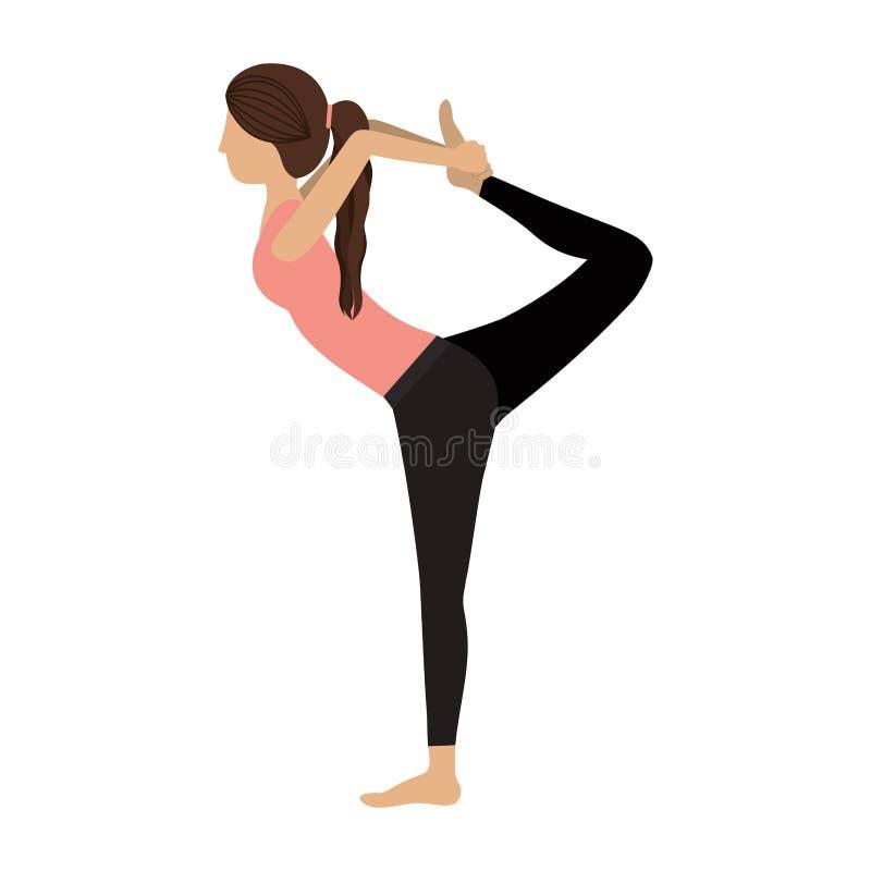 Señor colorido de la mujer de la yoga de la actitud tres de la danza ilustración del vector