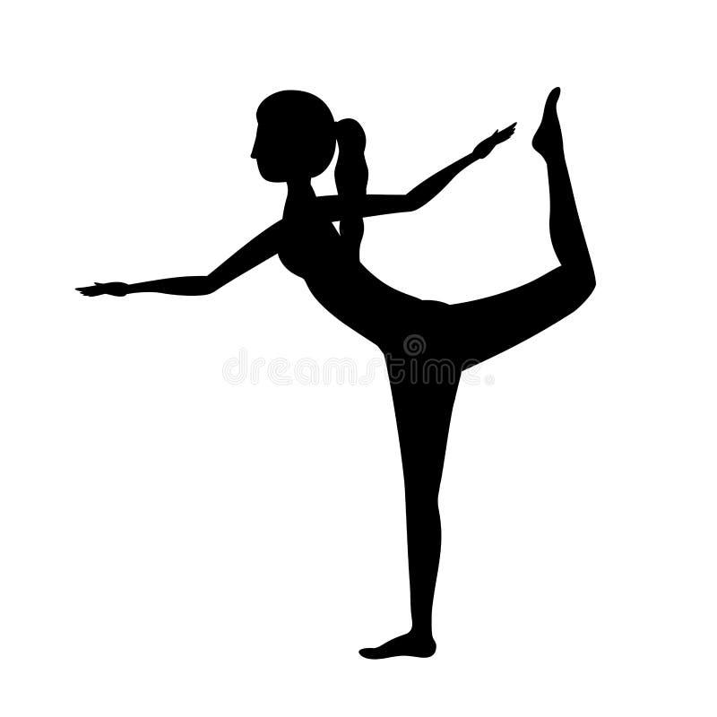 Señor de la mujer de la yoga de la silueta de la actitud una de la danza libre illustration