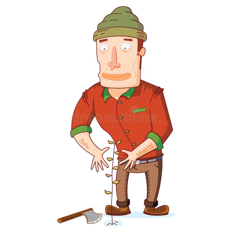 Señor Lumber Jack Loves Nature stock de ilustración