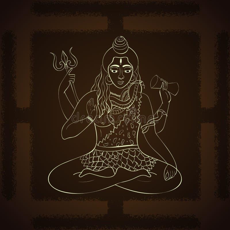 Señor Shiva Ejemplo hindú de dioses Dios supremo indio Shiva que se sienta en la meditación libre illustration