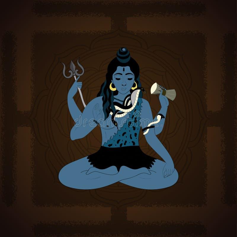 Señor Shiva Ejemplo hindú de dioses Dios supremo indio Shiva que se sienta en la meditación ilustración del vector