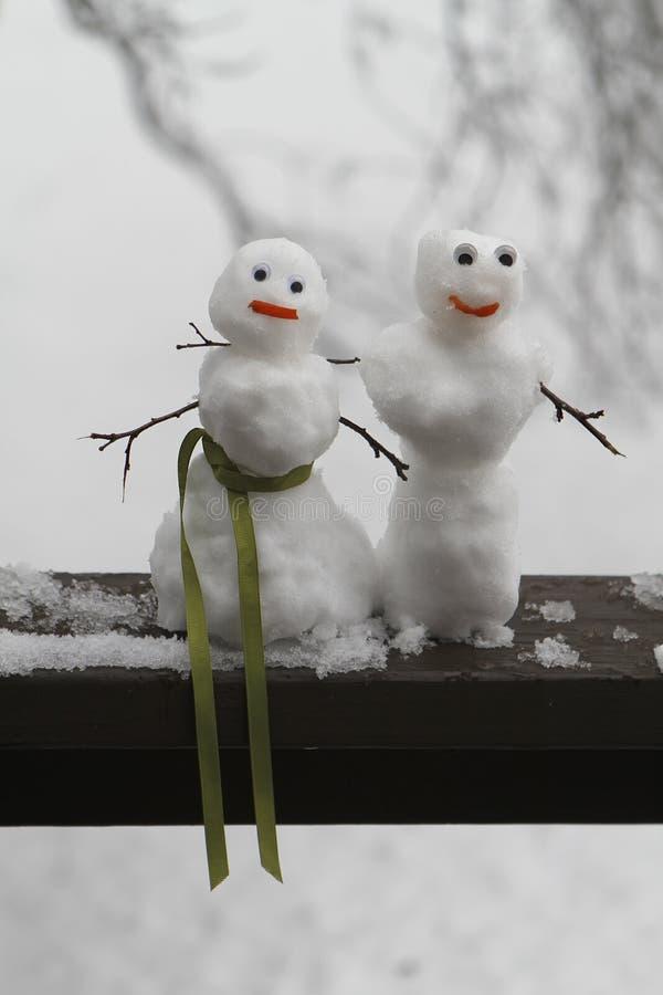 Señor y Srtas. Snowmen imágenes de archivo libres de regalías