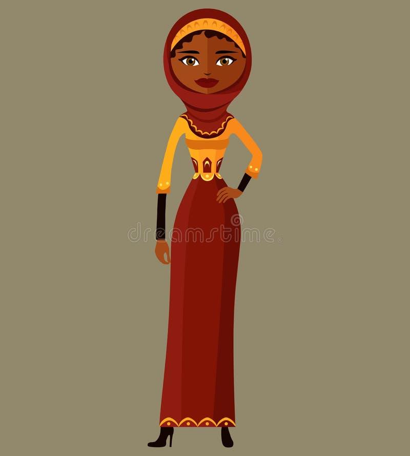 Señora árabe del saudí de la historieta en el ejemplo plano del vector del vestido tradicional aislado en el ejemplo del vector d ilustración del vector