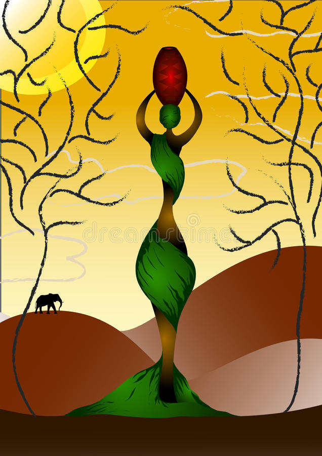 Señora africana con un crisol ilustración del vector