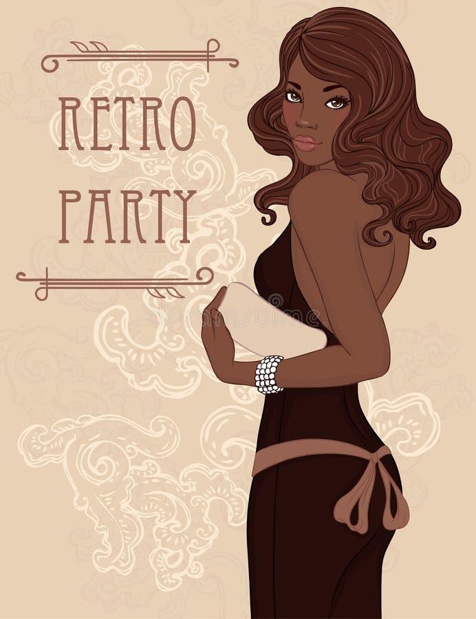 Señora afroamericana del encanto en el vestido de noche que celebra el embrague ilustración del vector