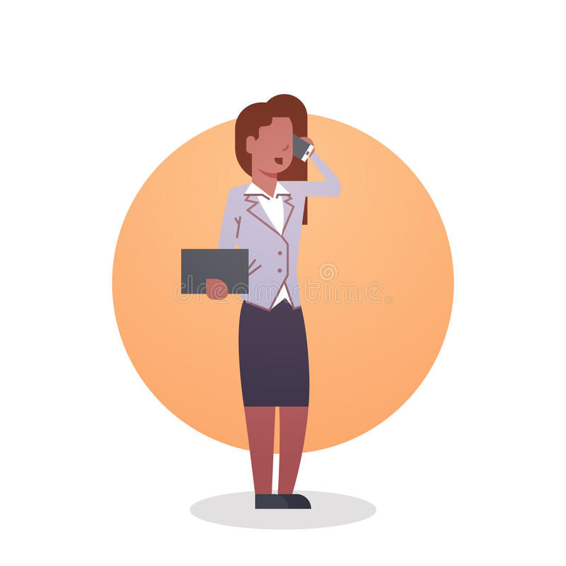 Señora afroamericana secretaria Occupation del icono de la mujer de negocios ilustración del vector