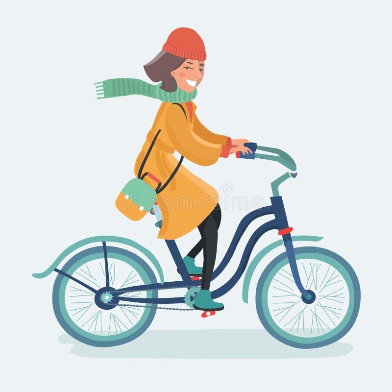 Señora al aire libre que monta su bici retra del inconformista en estilo del vintage ilustración del vector
