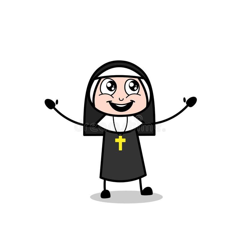 Señora alegre inocente Laughing Loudly Vector de la monja libre illustration