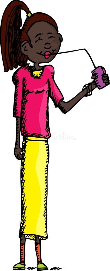 Señora alta Drinking Juice ilustración del vector