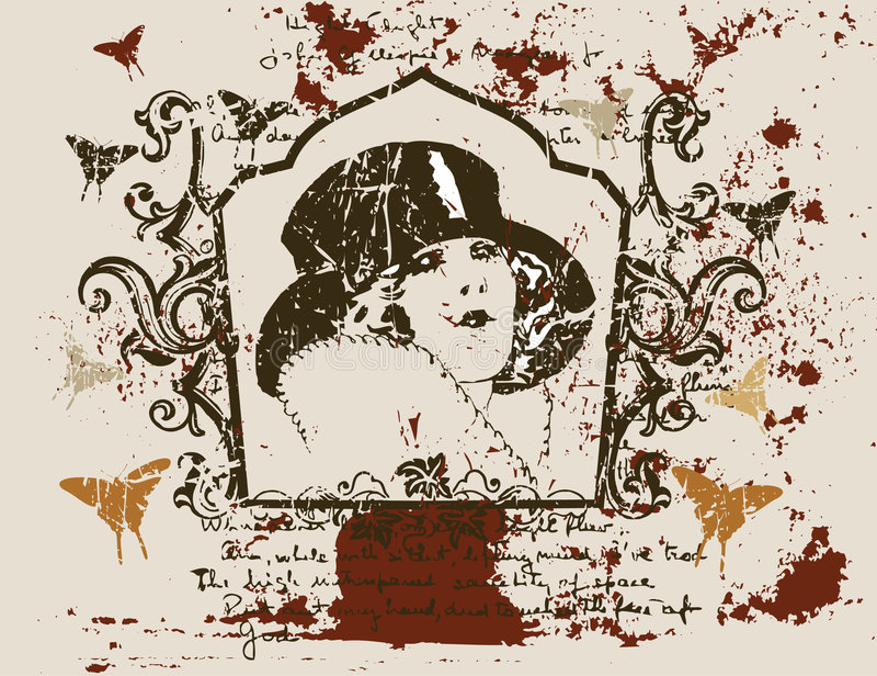 Señora antigua stock de ilustración