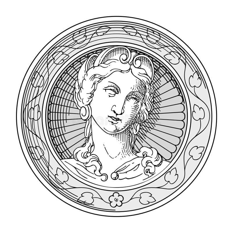 Señora antigua ilustración del vector