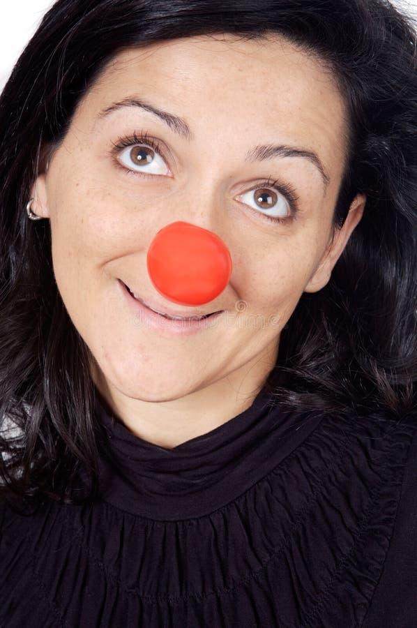 Señora atractiva con una nariz roja fotos de archivo libres de regalías