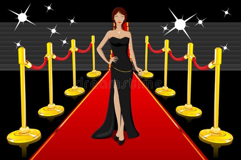 Señora atractiva en la alfombra roja libre illustration