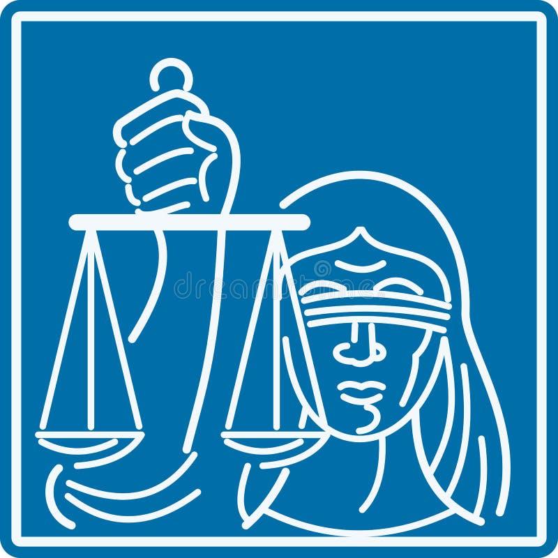 Señora Blindfolded Holding Scales de la justicia stock de ilustración