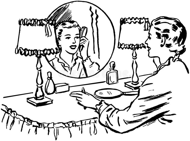 Señora Brushing Hair ilustración del vector