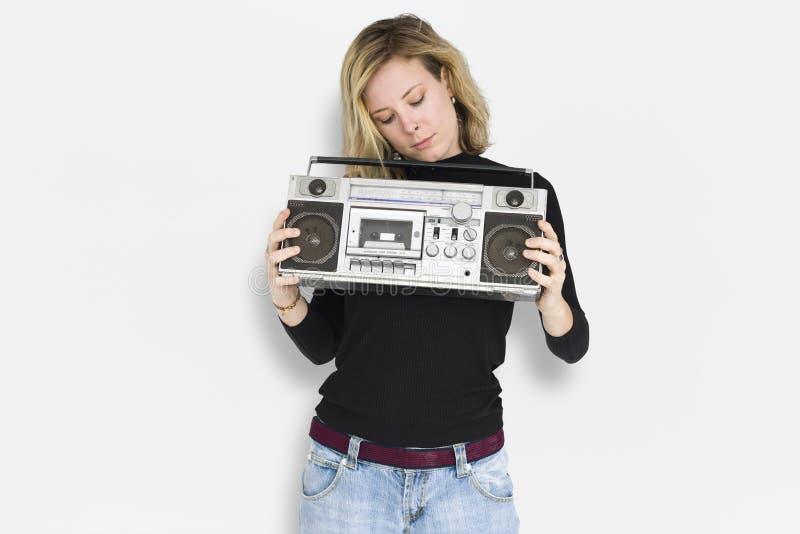 Señora caucásica Jukebox Music Concept fotografía de archivo