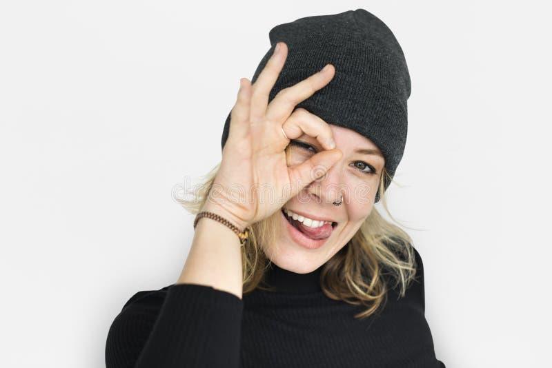 Señora caucásica Okay Sign Concept imagen de archivo