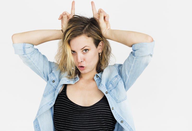 Señora caucásica Silly Face Concept fotos de archivo