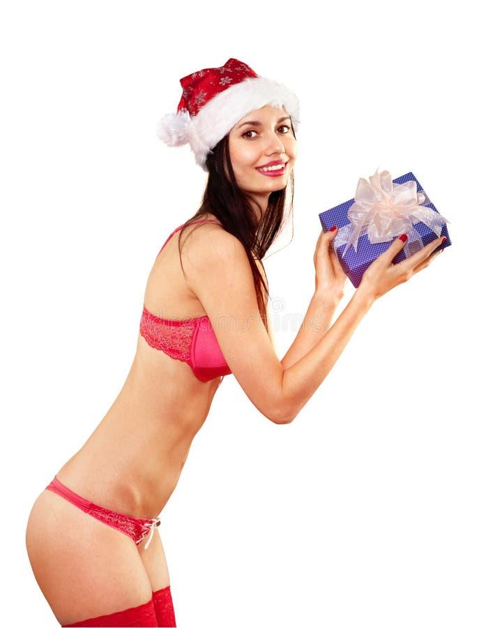 Señora Claus con el regalo en blanco imagenes de archivo