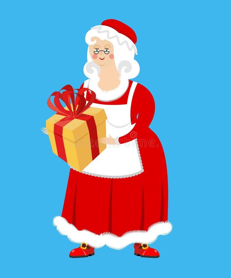 señora Claus y regalo Esposa de Santa Claus y de la caja Woma de la Navidad ilustración del vector