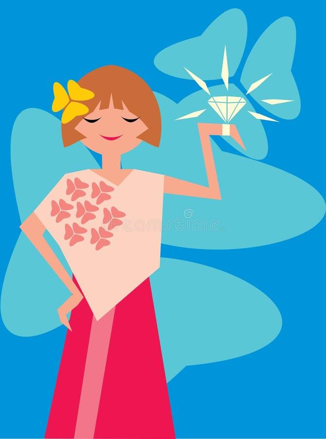 Señora con el diamante ilustración del vector