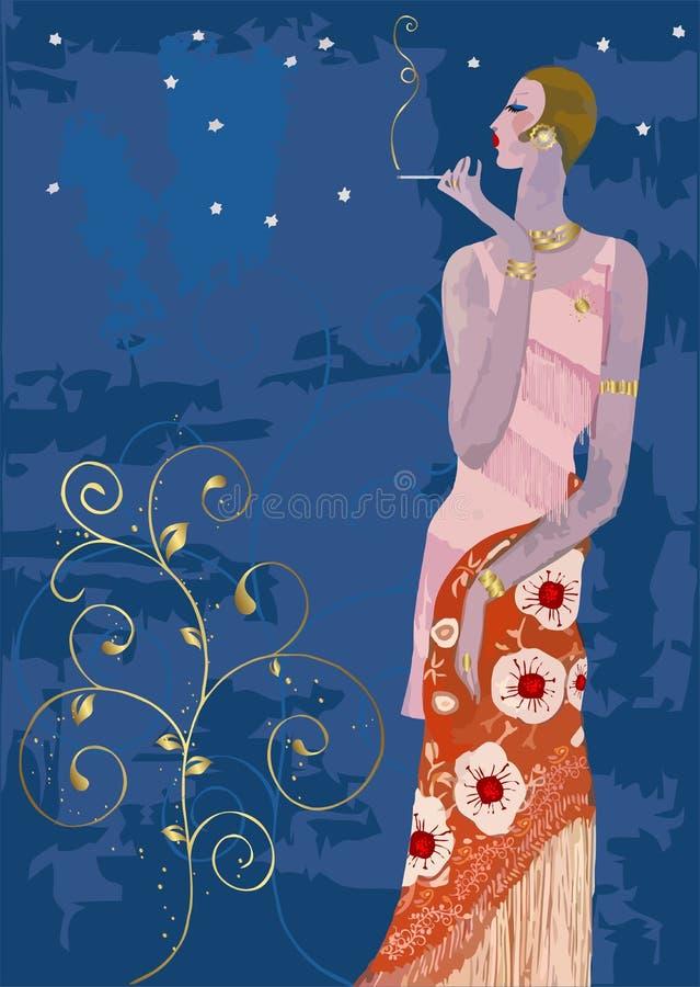 Señora con estilo que fuma en el estilo de París de la vendimia stock de ilustración