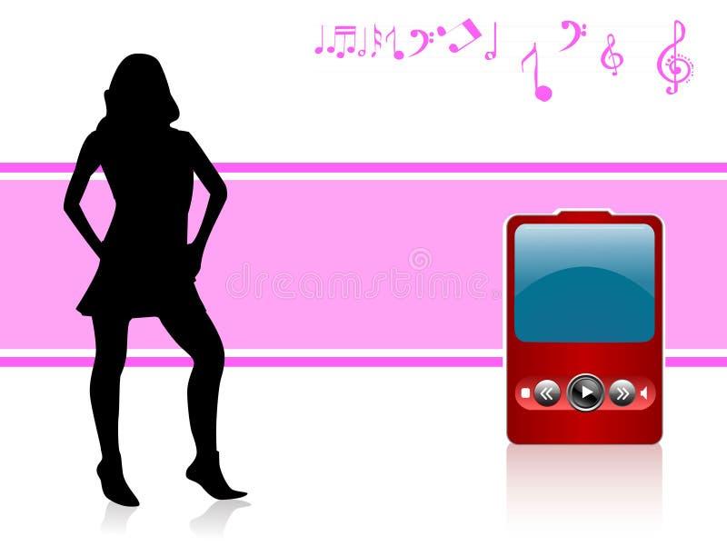 Señora con iPod stock de ilustración
