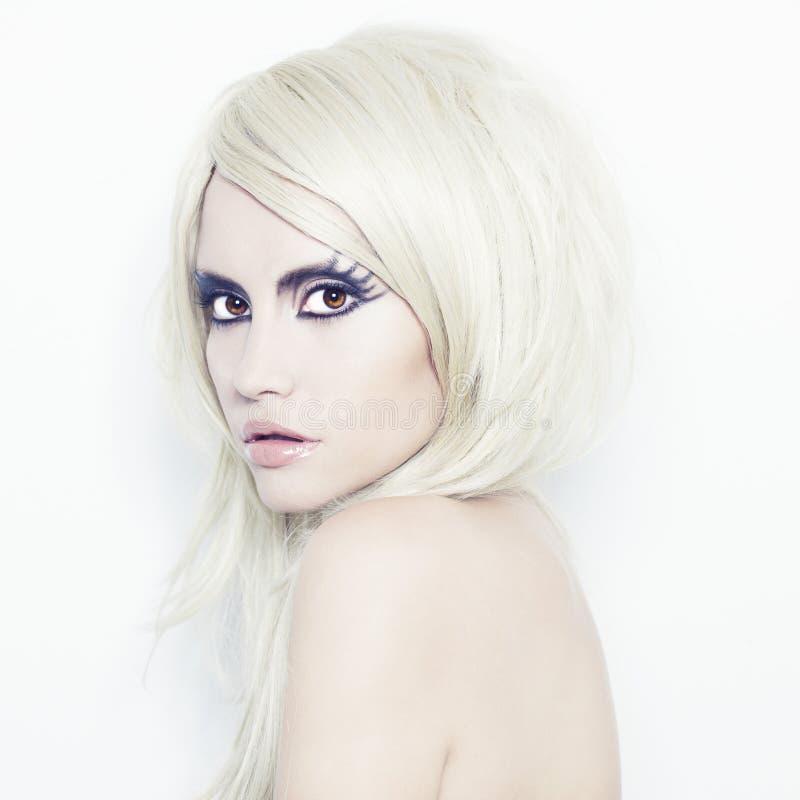 Señora con maquillaje de la fantasía imagen de archivo