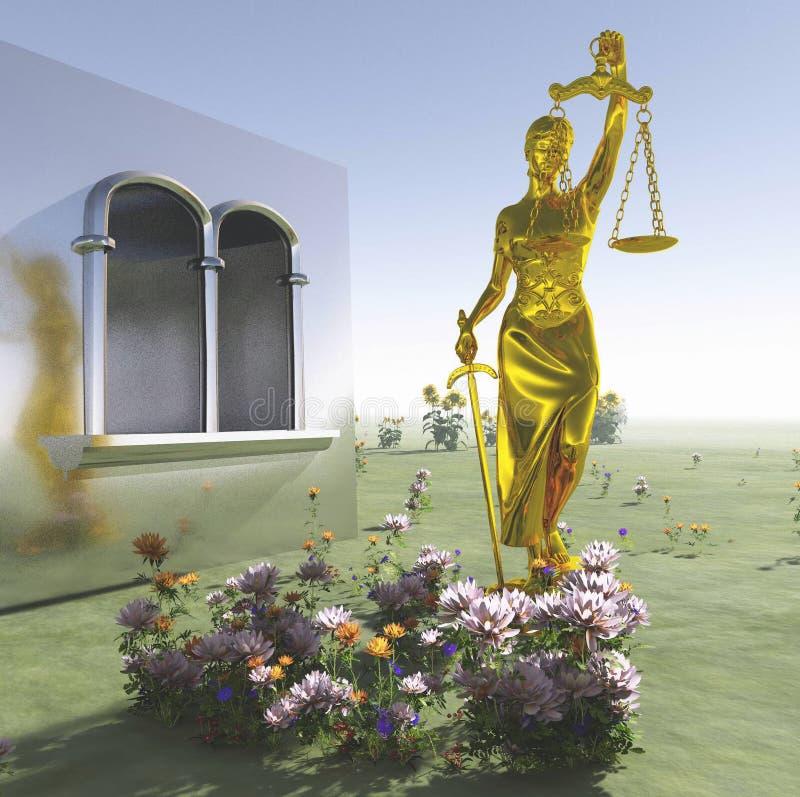 Señora de la estatua de la justicia en la representación delantera del tribunal 3d ilustración del vector