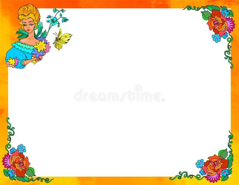 Señora de la fantasía y marco de las flores ilustración del vector