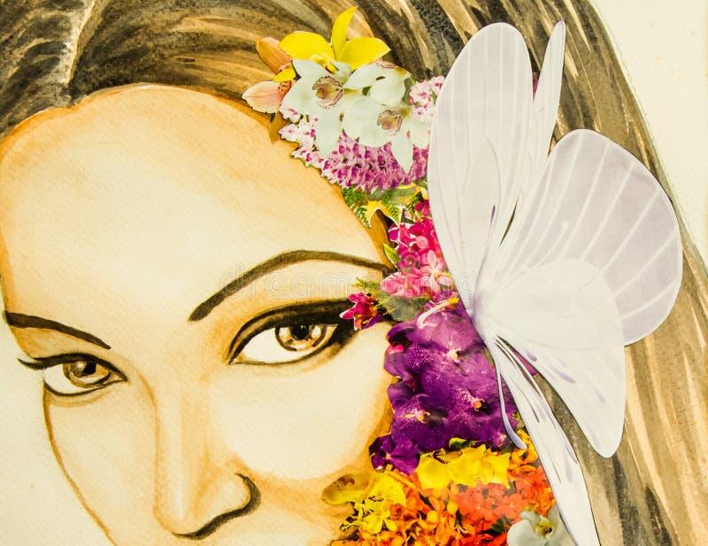 Señora de la flor ilustración del vector