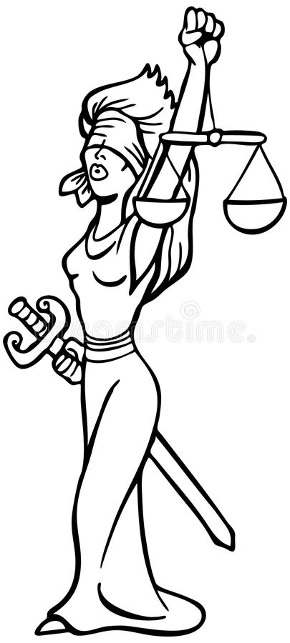 Señora de la justicia - blanco y negro stock de ilustración