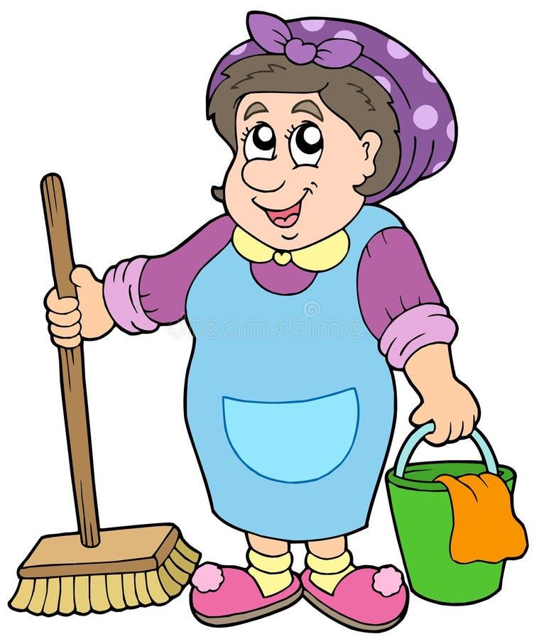 Señora de la limpieza de la historieta ilustración del vector