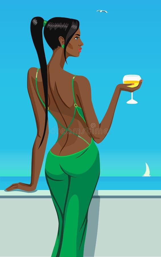 Señora de la muchacha que se coloca en el balcón con un vidrio de vino del champán en el ejemplo del vector de la barra del club  ilustración del vector
