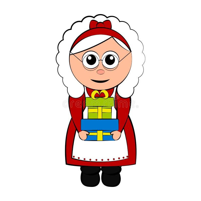 Señora de la Navidad Carácter de Claus que lleva a cabo un presente libre illustration