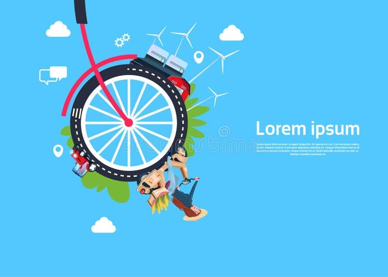 Señora de las ruedas de bicicleta en la vespa, proceso industrial eficaz de proceso de la ciudad, concepto de la rotación proceso libre illustration