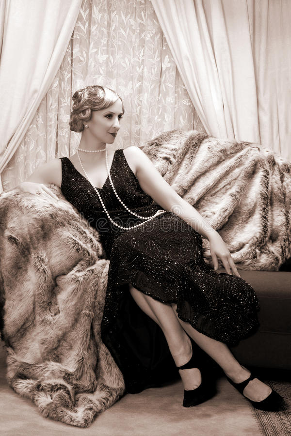 Señora de los años 20 fotografía de archivo