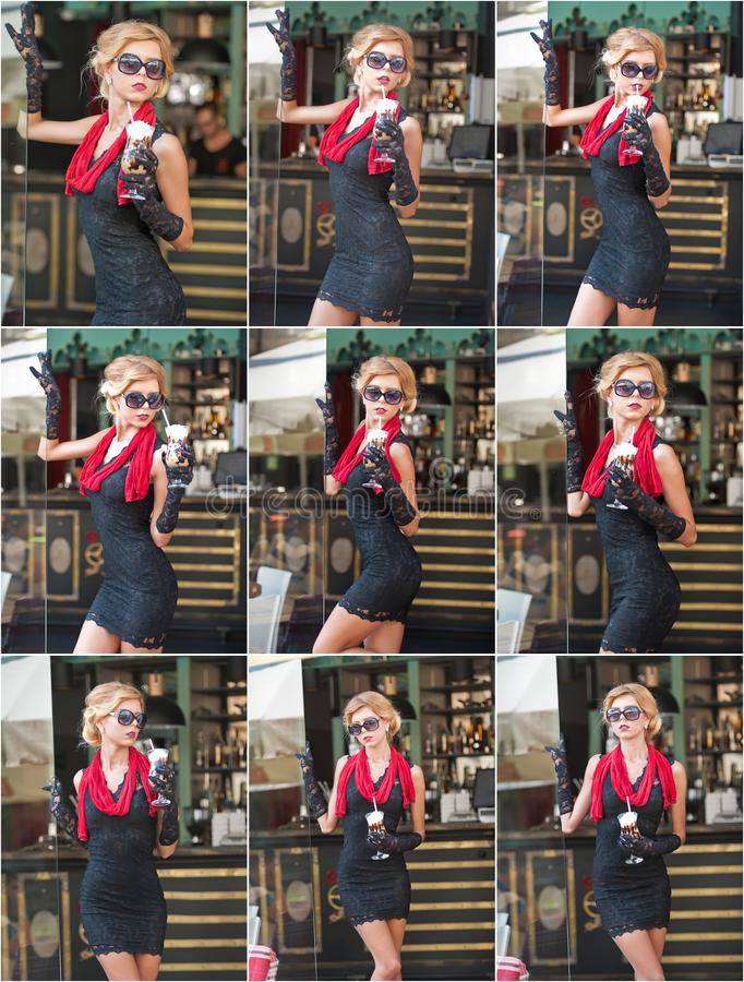 Señora de moda con el vestido negro corto y bufanda y tacones altos rojos, tiro al aire libre del cordón Blonde de pelo corto atr foto de archivo