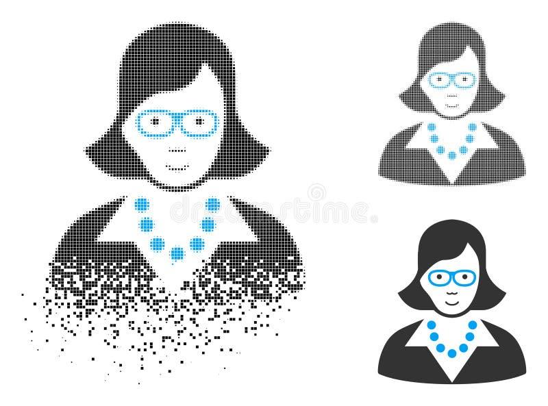 Señora de semitono Destructed Icon del profesor del pixel con la cara stock de ilustración