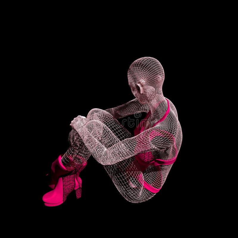 Señora de una rejilla 3d ilustración del vector