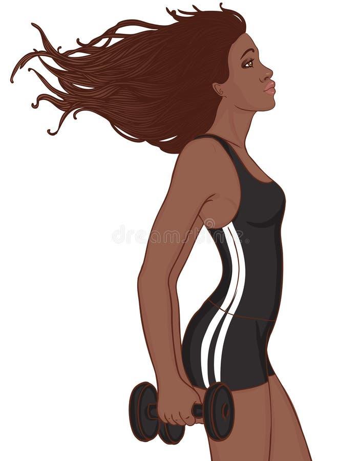 Señora del afroamericano que hace entrenamiento libre illustration