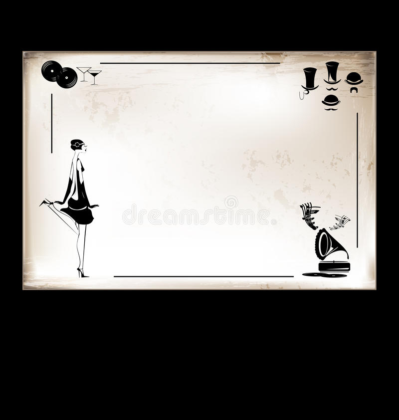 Señora del baile de la tarjeta del vintage stock de ilustración