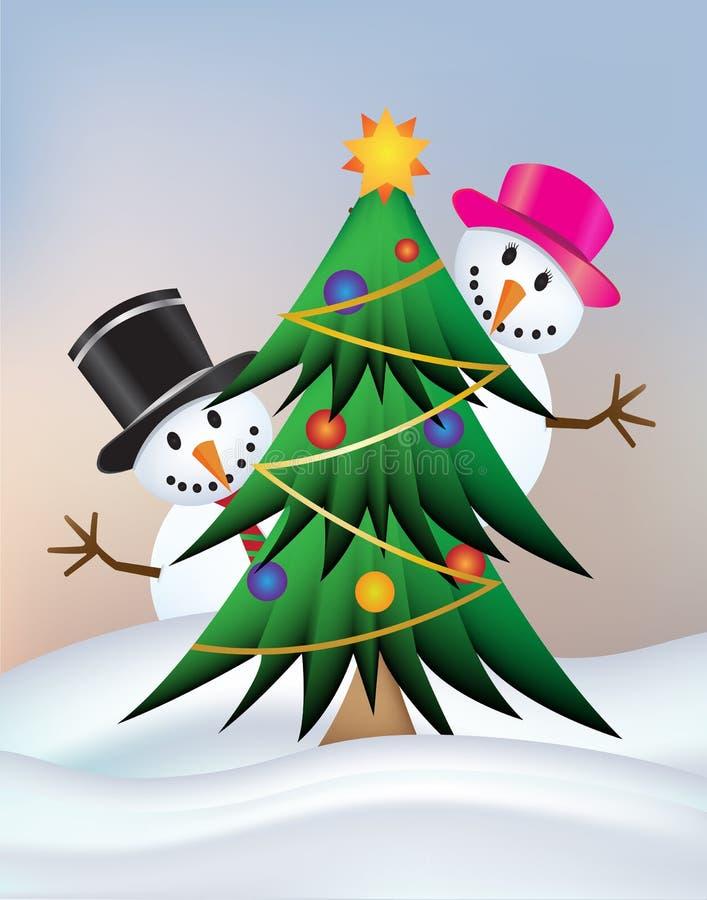 Señora del muñeco de nieve y muñeco de nieve con el árbol de navidad lindo libre illustration