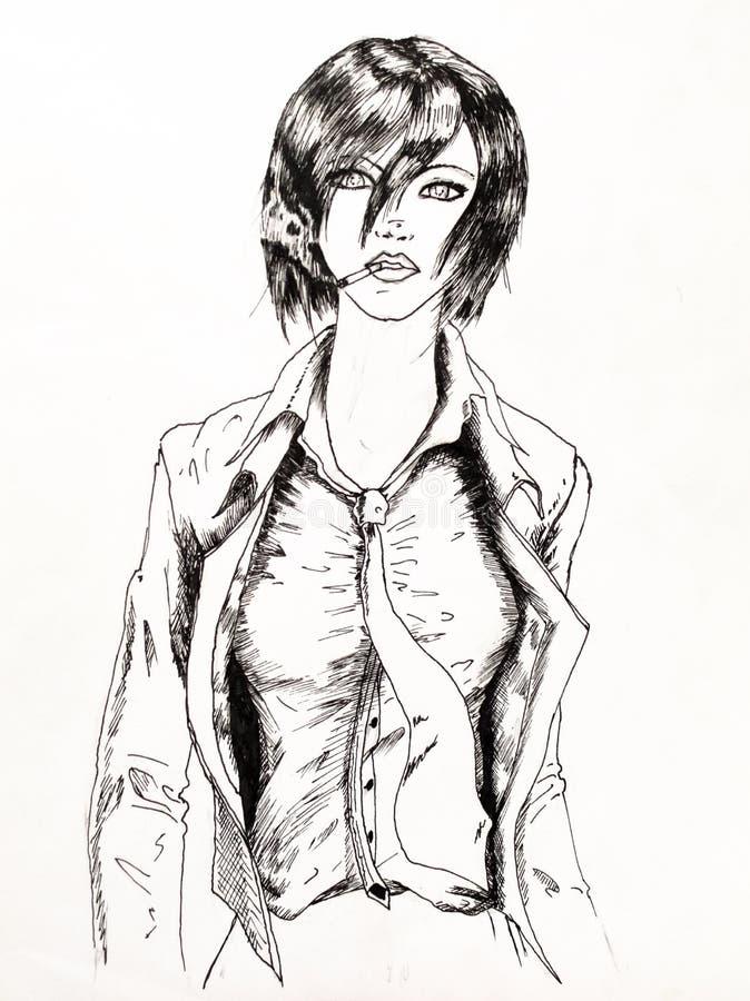Señora del negocio con un cigarrillo y una chaqueta desabrochados El fumar entre las mujeres que dibujan con un lápiz y un rimel libre illustration