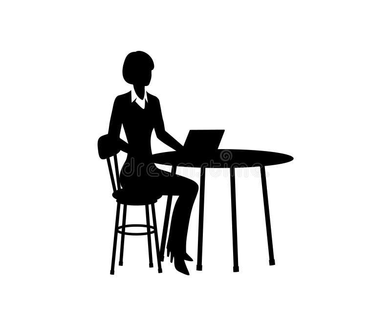 Señora del negocio que se sienta en la tabla con el ordenador Vector libre illustration