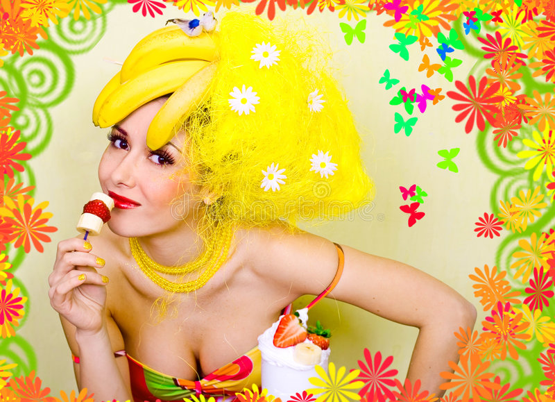 Señora del plátano que come un bocado fotos de archivo libres de regalías