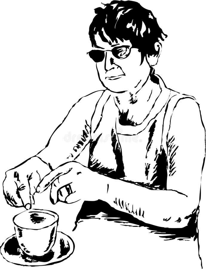 Señora del té stock de ilustración