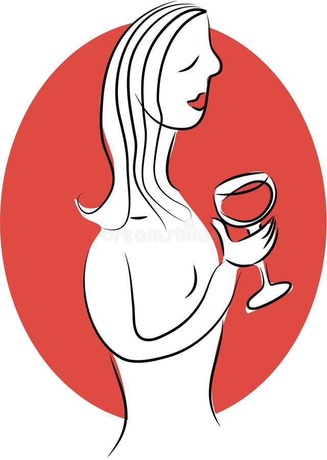 Señora del vino stock de ilustración